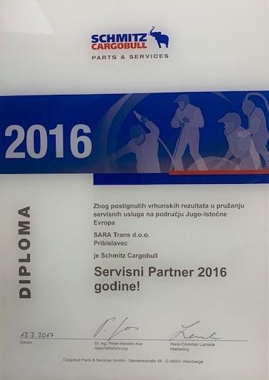 Schmitz Cargobull servisni partner godine za 2016.godinu